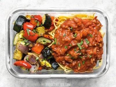 Spaghetti and Roasted Vegetable Meal Prep