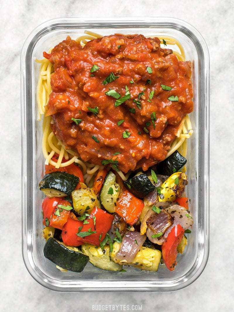 Spaghetti and Roasted Vegetables in a glass meal prep container