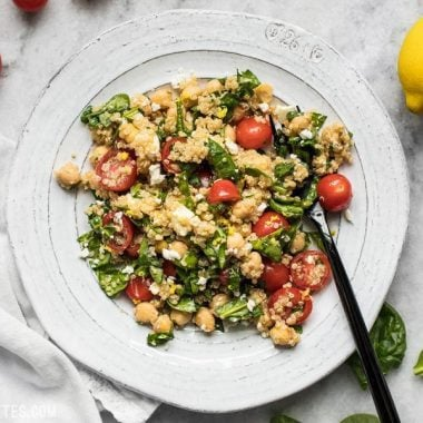 This Spinach Chickpea and Quinoa Salad is an awesome base to build meals throughout the week and it holds up extremely well in the fridge, so you can eat better with less effort. BudgetBytes.com