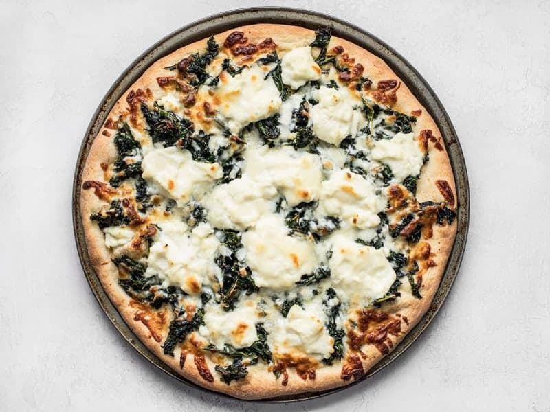 Finished Garlicky Kale and Ricotta Pizza
