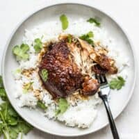 This Honey Hoisin Garlic Chicken from Jessica Gavin's new cookbook is salty, sweet, and mouth-wateringly tender. BudgetBytes.com