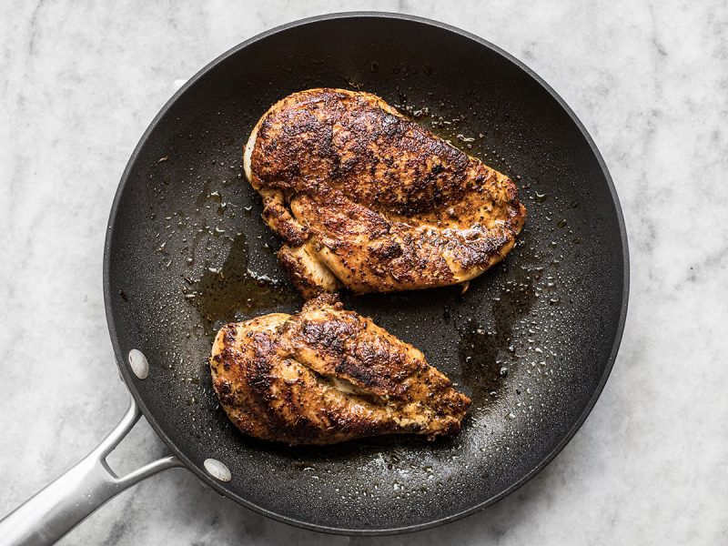 Cooked Jerk Chicken Breast in skillet