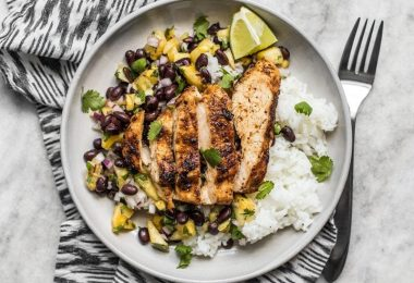 Full of fresh summery flavor, without needing a lot of ingredients, this Jerk Chicken with Pineapple Black Bean Salsa will become your new go-to easy summer meal!