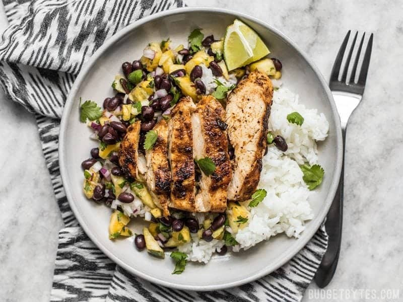 Jerk Chicken with Pineapple Black Bean Salsa