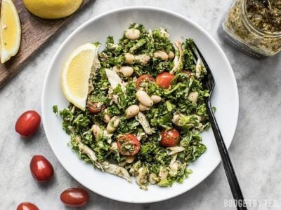 This Make Ahead Kale White Bean and Pesto Salad keeps your fridge stocked with good for you food that you can customize each day for a new meal. Budgetbytes.com