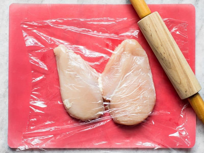 Pound Chicken Breast to an even thickness