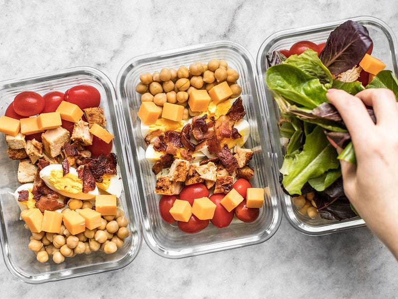 Layer lettuce on top of Cobb Salad Meal Prep