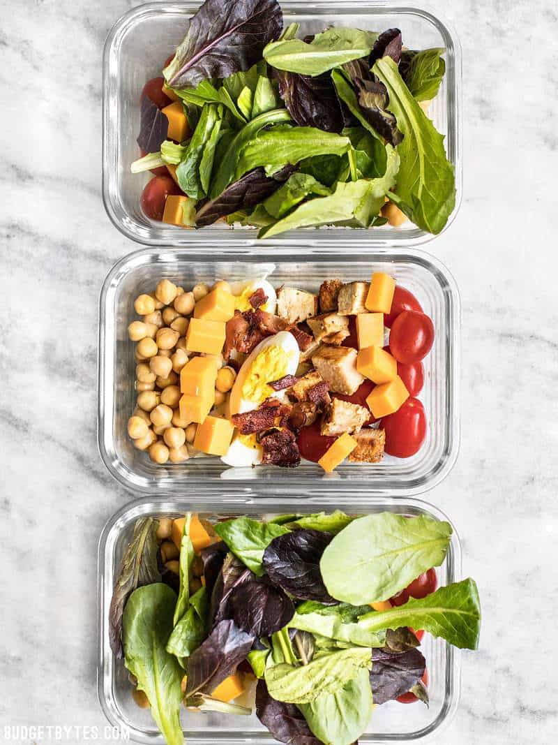 Three Cobb Salad Meal Prep containers lined up