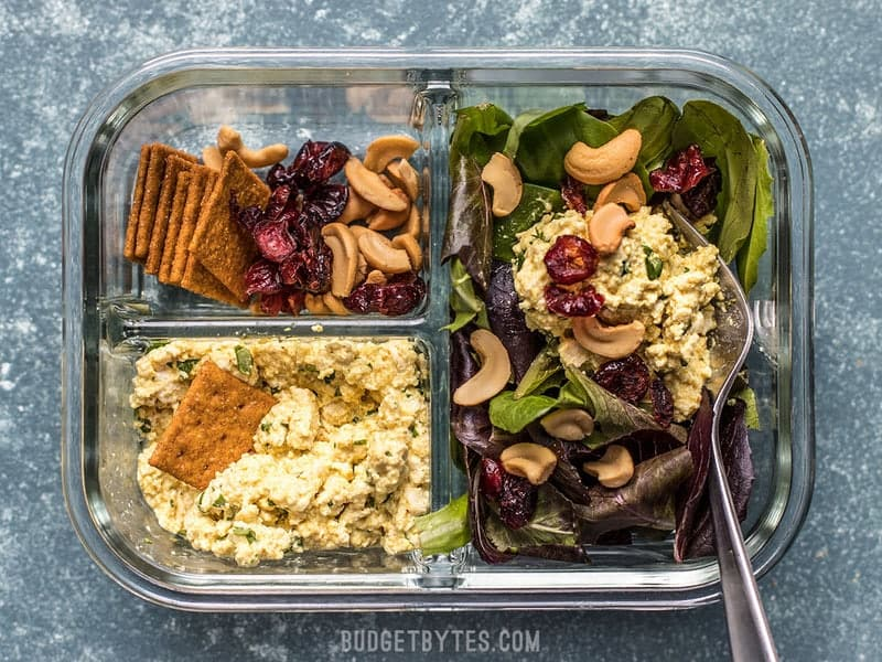 Light, filling, full of texture and flavor, this no-reheat Curried Tofu Salad Meal Prep is the perfect make-ahead lunch for summer! Budgetbytes.com
