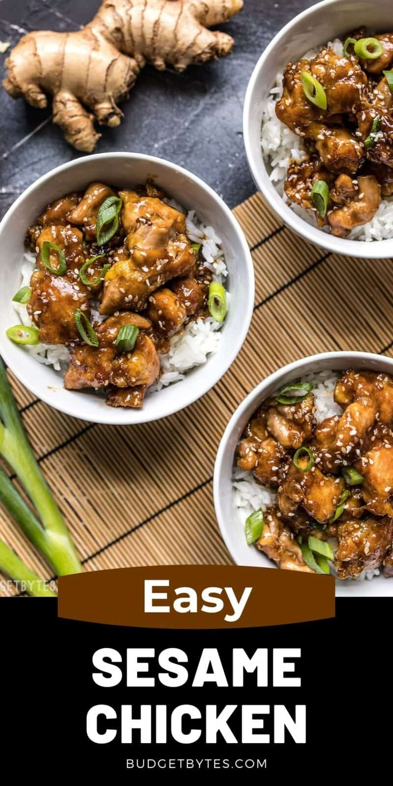Three bowls of sesame chicken and rice, title text at the bottom