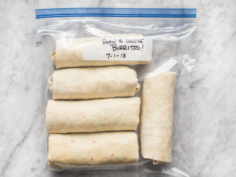 Bean and Cheese Burritos in freezer bag, labeled and dated