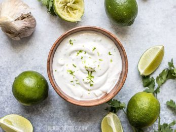 This tangy, creamy, fresh, and garlicky Lime Crema is the key to taking your tacos, nachos, salads, and more to the next level. Budgetbytes.com