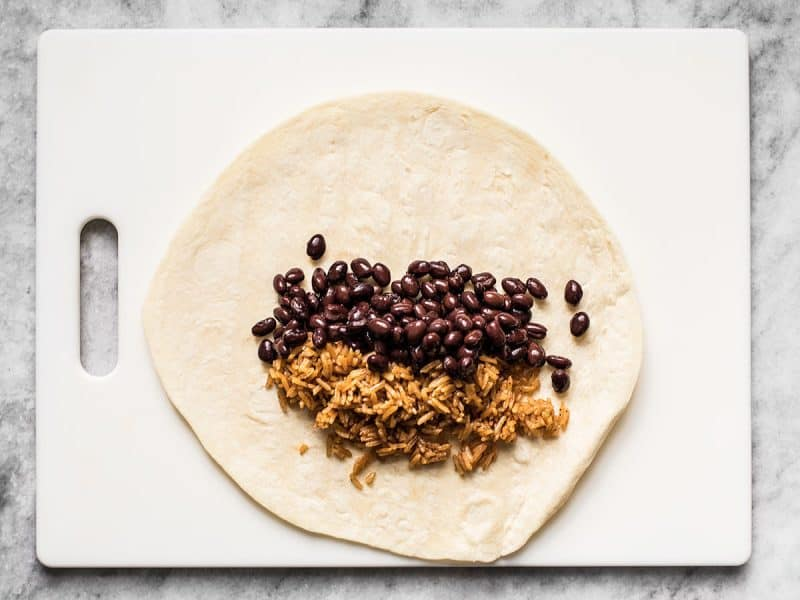 Rice and Beans in Burritos