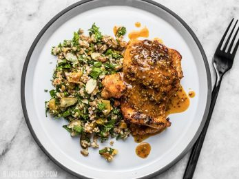 This sweet and tangy 20 Minute Honey Mustard Chicken will be your new family favorite weeknight dinner. Only a few pantry staples needed! Budgetbytes.com