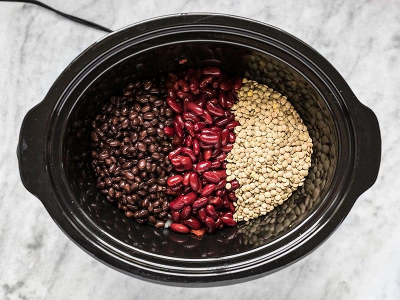 Beans and Lentils in Slow Cooker