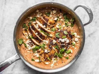 A simple jar of salsa is the key to making dinner fast and easy. Just try this Creamy Salsa Chicken Skillet and see for yourself. Budgetbytes.com
