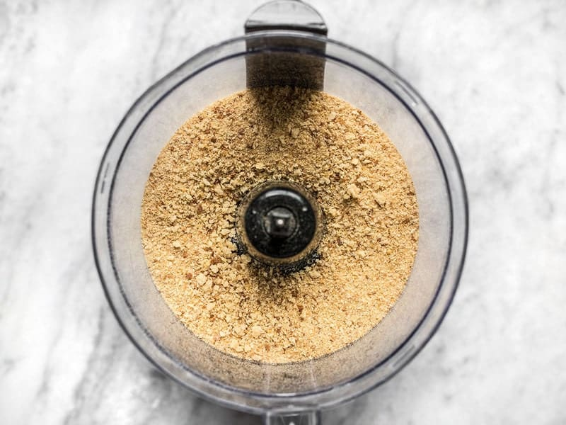 Processed Breadcrumbs in the food processor bowl