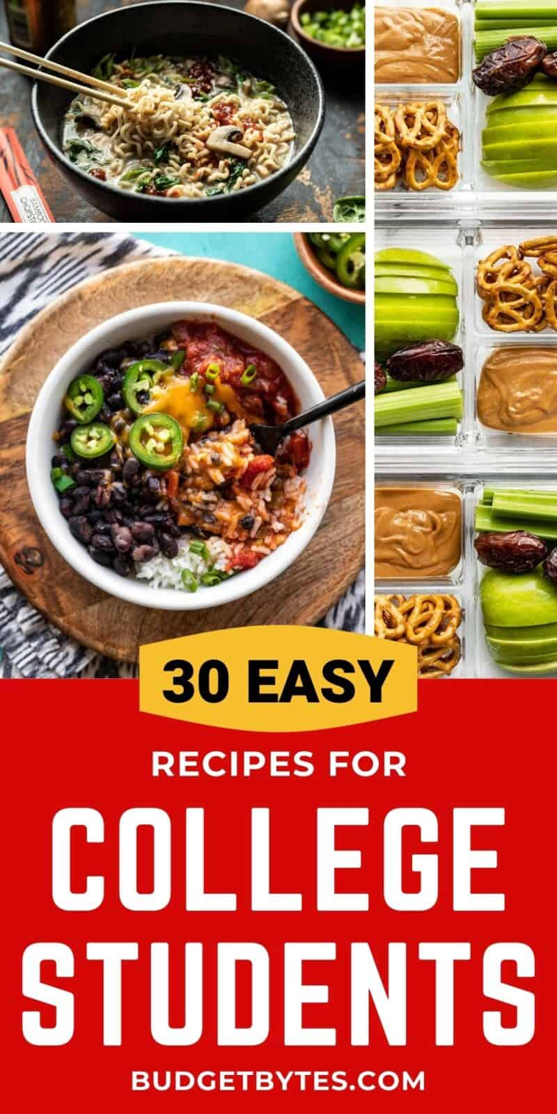 Collage of recipes for college students with title text