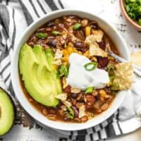 This Slow Cooker Vegetarian Lentil Chili makes a huge batch, is packed with flavor and nutrients, and can be made for only about 5 dollars! Budgetbytes.com