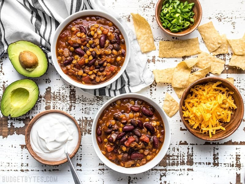 Slow Cooker Vegetarian Lentil Chili ready to top