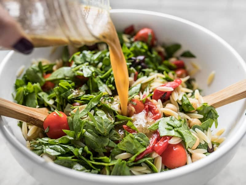 Add Dressing to Italian Orzo Salad