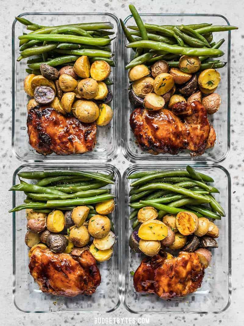 Four glass Glazed Chicken Meal Prep arranged in a rectangle