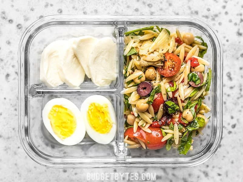 Single Close Up of Orzo Salad Meal Prep Lunch Box