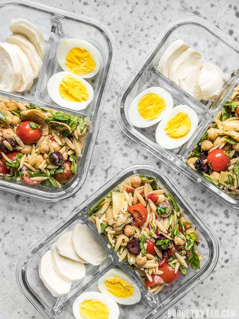 Orzo Salad Meal Prep Lunch Boxes scattered view