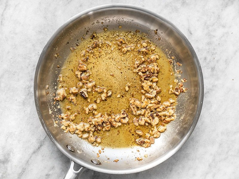 Add dried sage to brown butter in the skillet