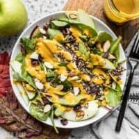 Autumn Quinoa Salad with Lemon Turmeric Dressing ready for serving