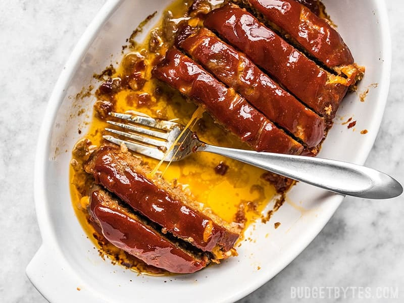 Sliced Cheddar Cheeseburger Meatloaf with pulled cheese
