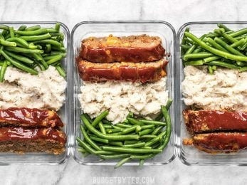 This Cheeseburger Meatloaf Meal Prep is an easy American classic meal that you'll look forward to each day. Toss the TV dinners and make your own! Budgetbytes.com