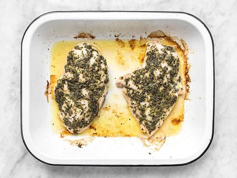 Finished Garlic Herb Baked Chicken