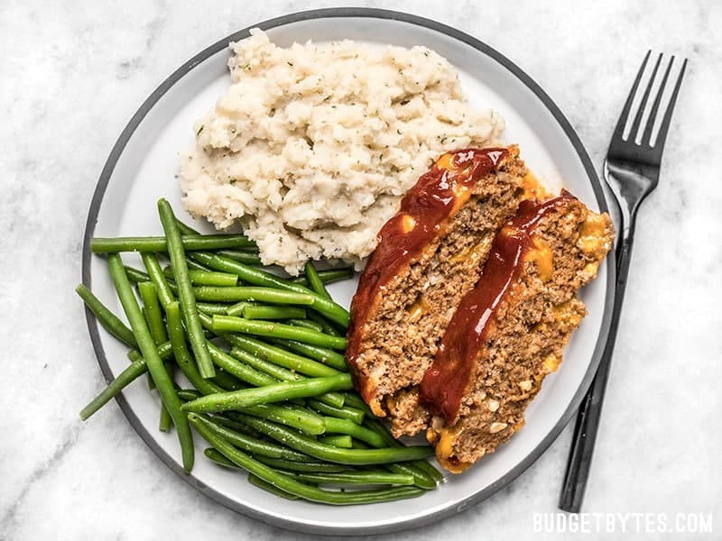 Fluffy Garlic Herb Mashed Potatoes with green beans and Cheddar Cheeseburger Meatloaf