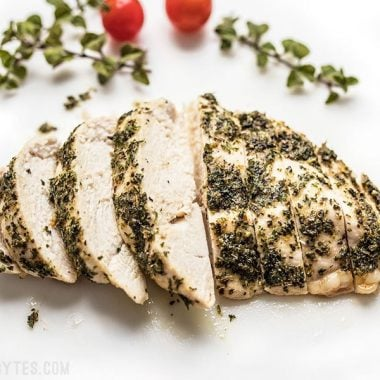 Garlic Herb Baked Chicken Breast sliced and ready to serve