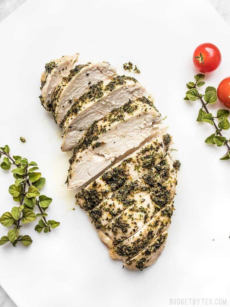 Sliced Garlic Herb Baked Chicken Breast ready to be served.