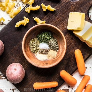 Garlic Herb Seasoning Ingredients with vegetables pasta and butter