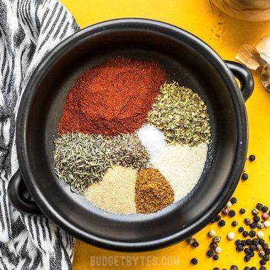 Homemade Cajun Seasoning ingredients in a bowl.