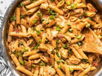 One Pot Cajun Chicken Pasta ready to be served out of the pan.