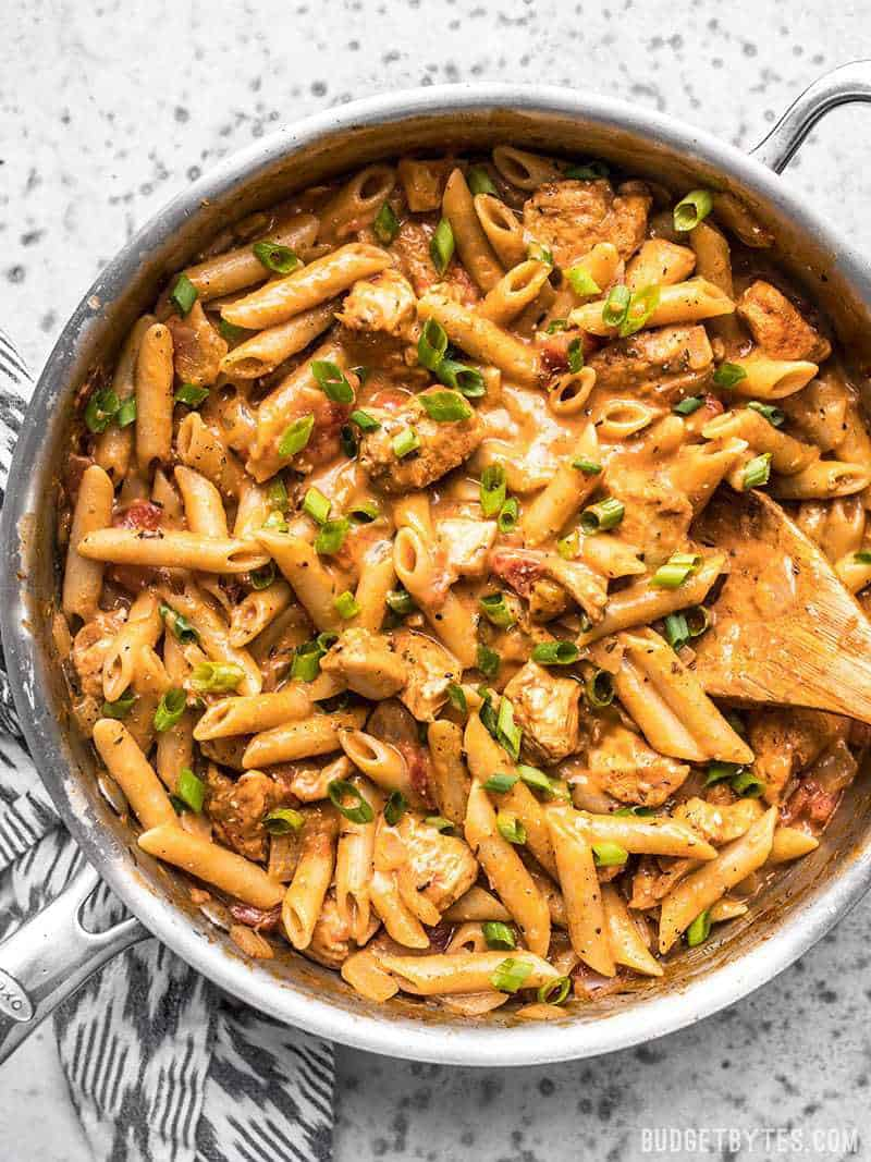 One Pot Creamy Cajun Chicken Pasta ready to be served out of the pan.