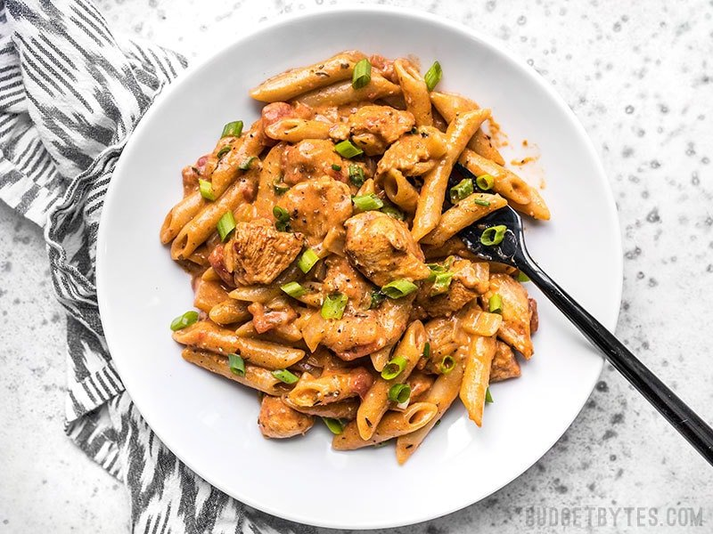 A bowl full of One Pot Creamy Cajun Chicken Pasta