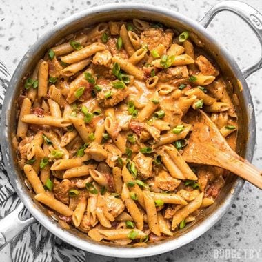 One Pot Creamy Cajun Chicken Pasta in the pan.