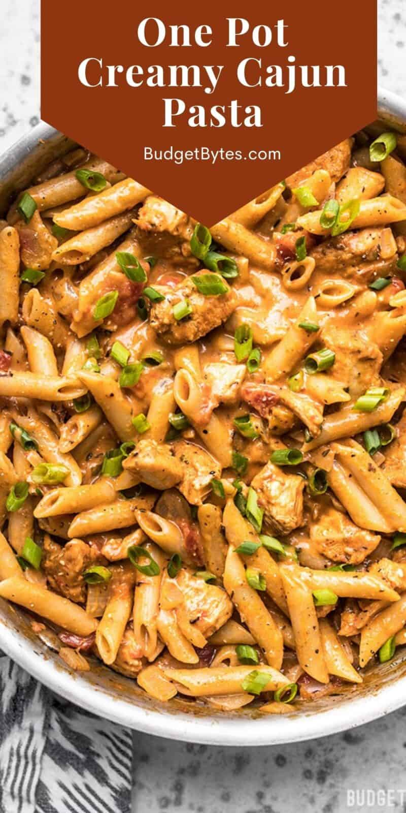 Overhead view of a skillet full of cajun chicken pasta