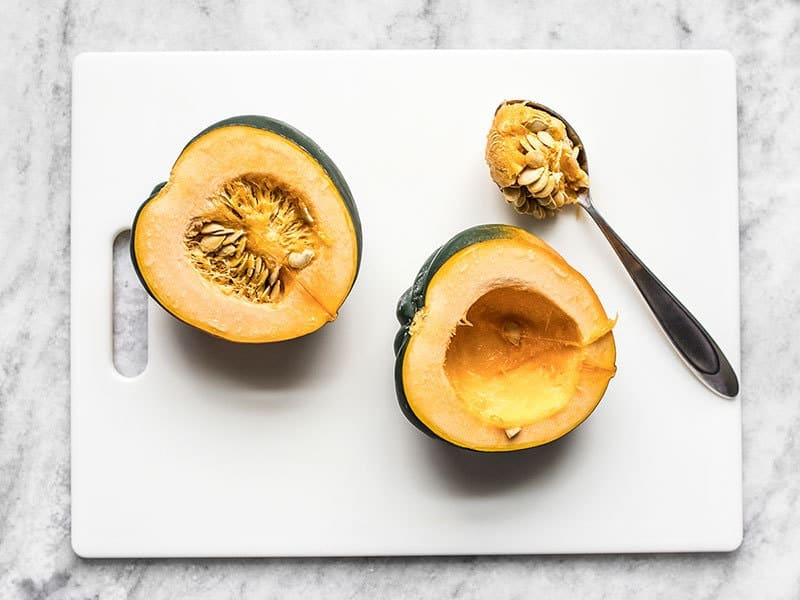 Scoop Seeds from Acorn Squash