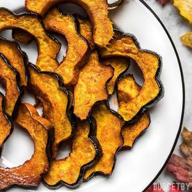Close up of caramelized Smoky Maple Roasted Acorn Squash