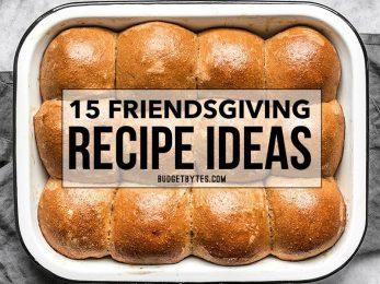 15 travel-friendly, crowd pleasing Friendsgiving recipe ideas that everyone will love. Go potluck style with your friends this Thanksgiving! Budgetbytes.com