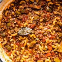 close up of american goulash in the pot