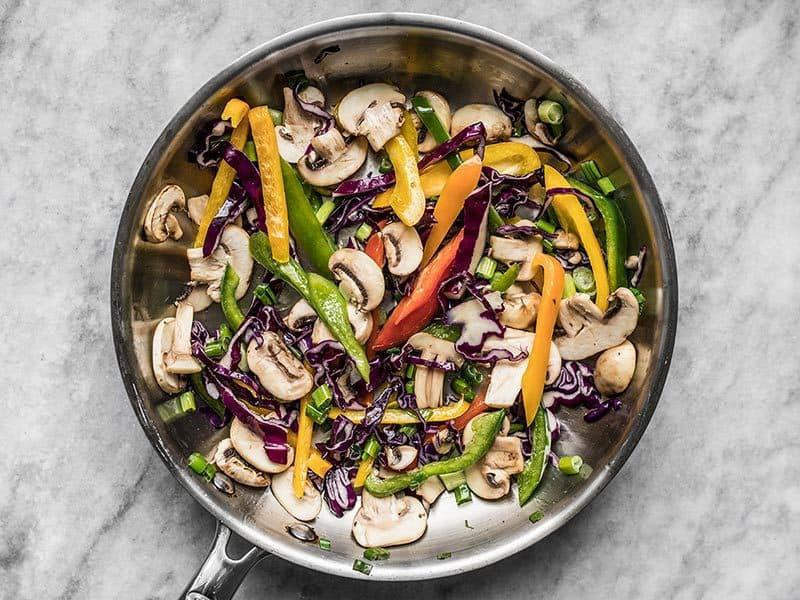 Briefly Stir Fried Vegetables in the skillet