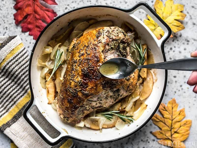 Basing Cider Roasted Turkey Breast with Apples and Onions