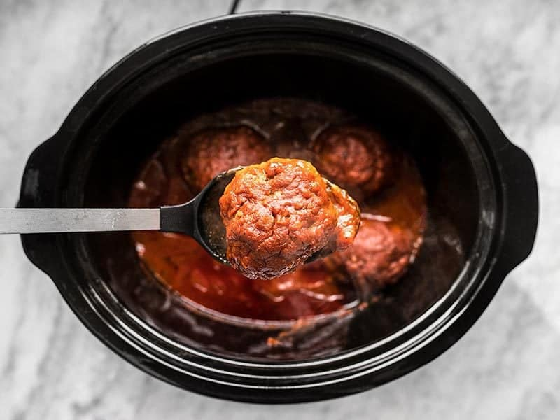 Remove Giant Meatballs from Slow Cooker